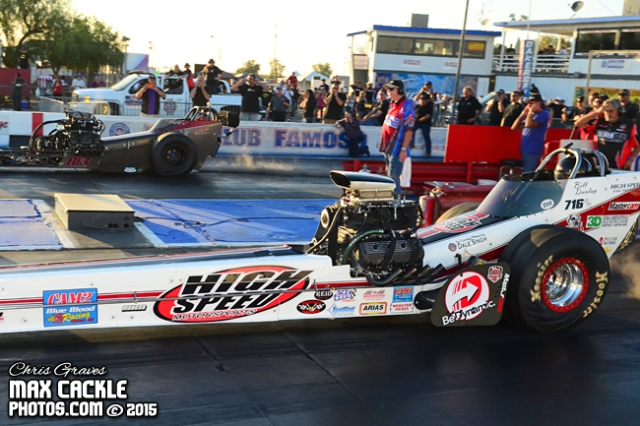 Bill Dunlap chases down Denver Schutz and claims his 3rd CHRR Top Fuel Title.